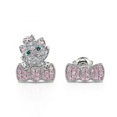 "Jeulia ""I Love Cats"" Bow Design Mismatched Stud Earrings"