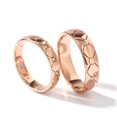 "Jeulia ""Eternal Love"" Rose Gold Tone Sterling Silver Couple Rings"