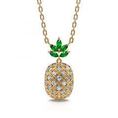 """Jeulia """"A Trip of Summer"""" Pineapple Sterling Silver Necklace"""