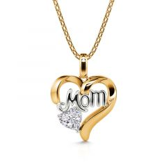"""Jeulia """"I Carry Your Heart with Me"""" Mom Love Heart Sterling Silver Necklace"""