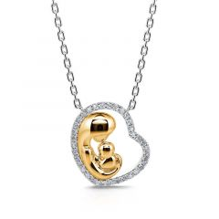 """Jeulia """"Love Is a Great Fire"""" Mother & Baby Heart Sterling Silver Necklace"""