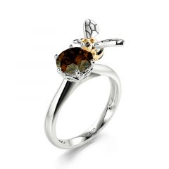 """Jeulia Hug Me """"You Are My Sunshine"""" Honeycomb Bee Round Cut Sterling Silver Ring"""