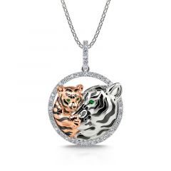 """Jeulia """"Huddle with You"""" Mom and Baby Tiger Pendant Sterling Silver Necklace"""