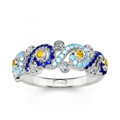 """Jeulia """"Pure Night"""" The Starry Night Inspired Round Cut Sterling Silver Band"""
