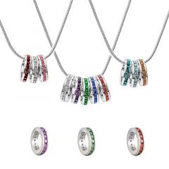 Jeulia Stackable Birthstone Eternity Charm Necklace Sterling Silver