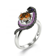 """Jeulia Hug Me """"Never Give Up"""" Mamba Round Cut Sterling Silver Ring"""
