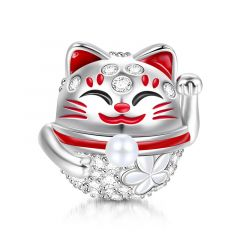 """""""Wish You Luck"""" Lucky Cat Sterling Silver Charm"""