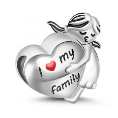 I Love My Family Charm Sterling Silver
