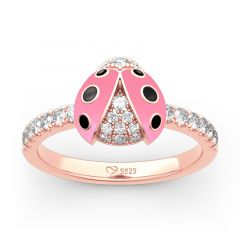 Jeulia Lucky Pink Ladybug Sterling Silver Ring