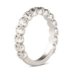 Jeulia Simple Circle Sterling Silver Skull Ring