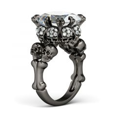 Jeulia  Black Tone Princess Cut Sterling Silver Skull Ring