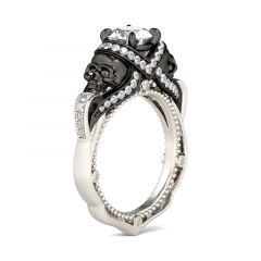 Jeulia Two Tone Round Cut Milgrain Sterling Silver Skull Ring