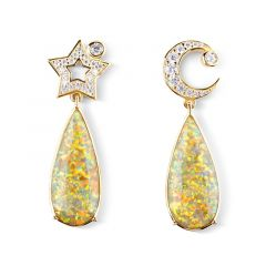Jeulia Dream Moon and Star Drop Earrings