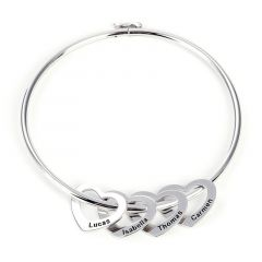 Jeulia Bangle Bracelet with Heart Shape Pendants in Sterling Silver