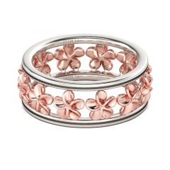 Jeulia Two Tone Flower Sterling Silver Women's Band