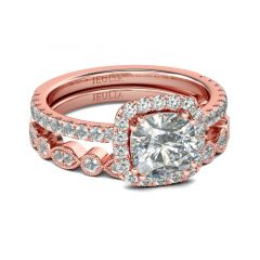 Jeulia Rose Gold Tone Halo Cushion Cut Sterling Silver Ring Set