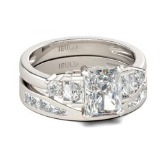 Jeulia Contemporary Design Radiant Cut Sterling Silver Ring Set