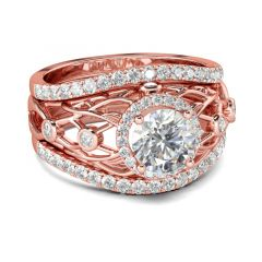 Jeulia 3PC Rose Gold Tone Round Cut Sterling Silver Ring Set