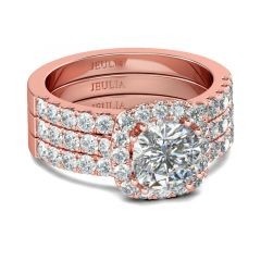 Jeulia 3PC Rose Gold Tone Halo Cushion Cut Sterling Silver Ring Set