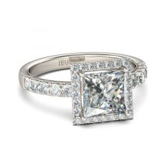Jeulia Classic Halo Princess Cut Sterling Silver Ring