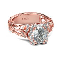 Jeulia Rose Gold Tone Halo Oval Cut Sterling Silver Ring