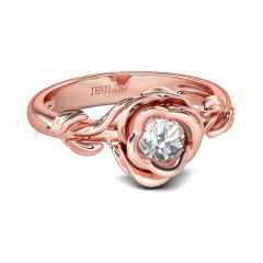 Jeulia Rose Gold Tone Flower Design Round Cut Sterling Silver Ring