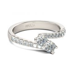 Jeulia Two Stone Round Cut Sterling Silver Ring