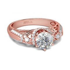 Jeulia Rose Gold Tone Halo Round Cut Sterling Silver Ring