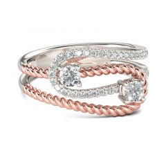 Jeulia Two Stone Knot Round Cut Sterling Silver Ring