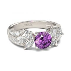Jeulia Flower Round Cut Sterling Silver Ring