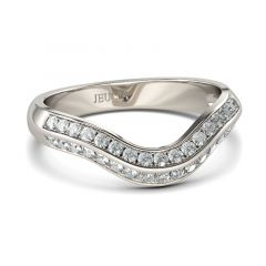 Jeulia Curved Round Cut Sterling Silver Women's Band