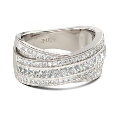 Jeulia Cross Round Cut Sterling Silver Women's Band