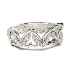 Jeulia Interlocking Hearts Round Cut Sterling Silver Women's Band
