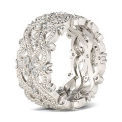 Jeulia Beaded Infinity Sterling Silver Women's Band