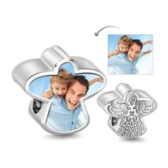 Guardian Angel Photo Charm Sterling Silver