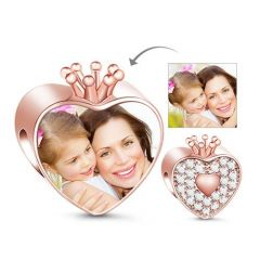 Rose Gold Crown Heart Photo Charm Sterling Silver
