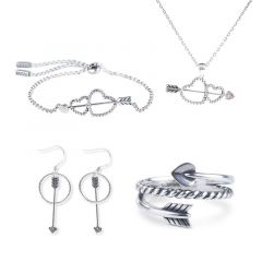 Jeulia Cupid's Arrow Sterling Silver Jewelry Set
